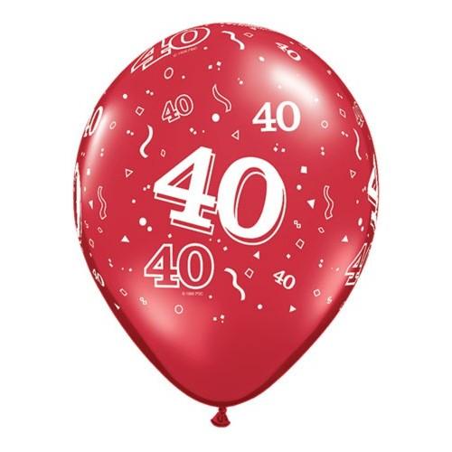 Tiskan balon številka 40 Ruby Red