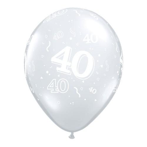 Tiskan balon številka 40 Diamond Clear
