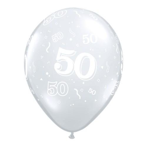 Tiskani balon broj 50 Diamond Clear