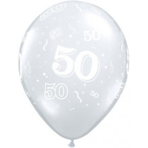 Tiskan balon številka 50 Diamond Clear