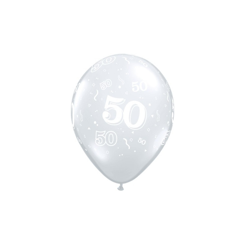 Printed balloons - number 50 Diamond Clear