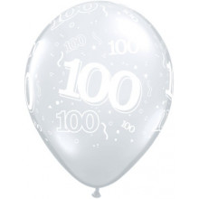 Printed balloons - number 100 Diamond Clear