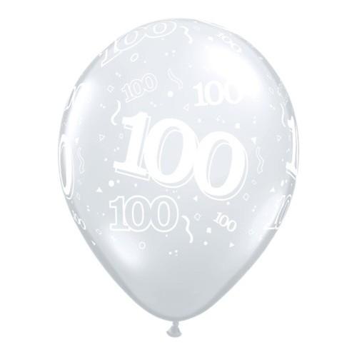 Tiskan balon številka 100 Diamond Clear