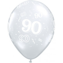 Printed balloons - number 90 Diamond Clear